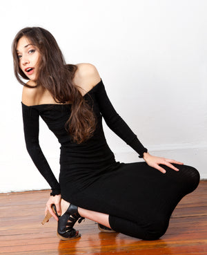 Off Shoulder Maxi Sweater Dress / BodyCon Calf Length Dress Made In USA