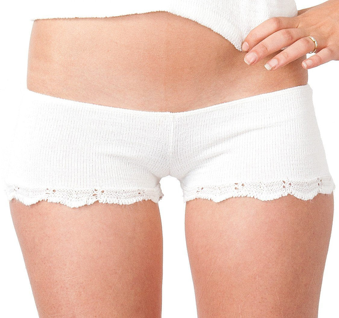 White / Large Bikini Short Shorts / Lace Trim / Stretch Knit / Cheeky Shorts @KDdanceNewYork #MadeInUSA - 3