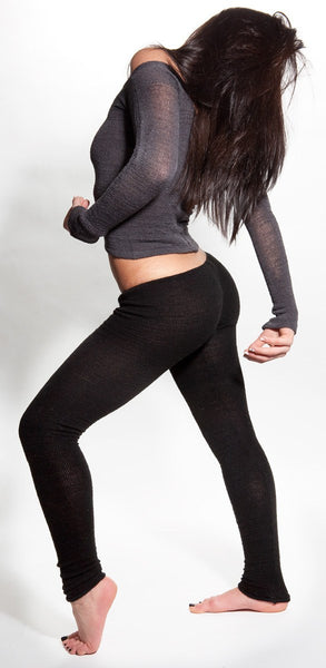 Medium / New York Black Yoga Tights / Dance Leggings / Unique Low Rise Knit Dancewear @KDdanceNewYork #MadeInUSA - 1