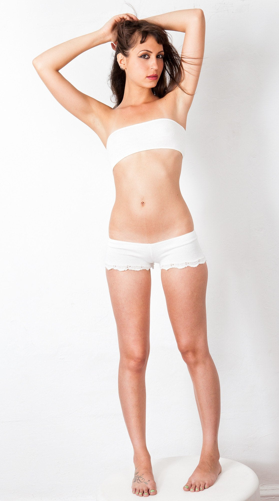 Lace Trimmed Cheeky Bikini Shorts & Bare Belly Mini Tube Top KD dance Dancewear Made In USA @KDdanceNewYork #MadeInUSA - 6
