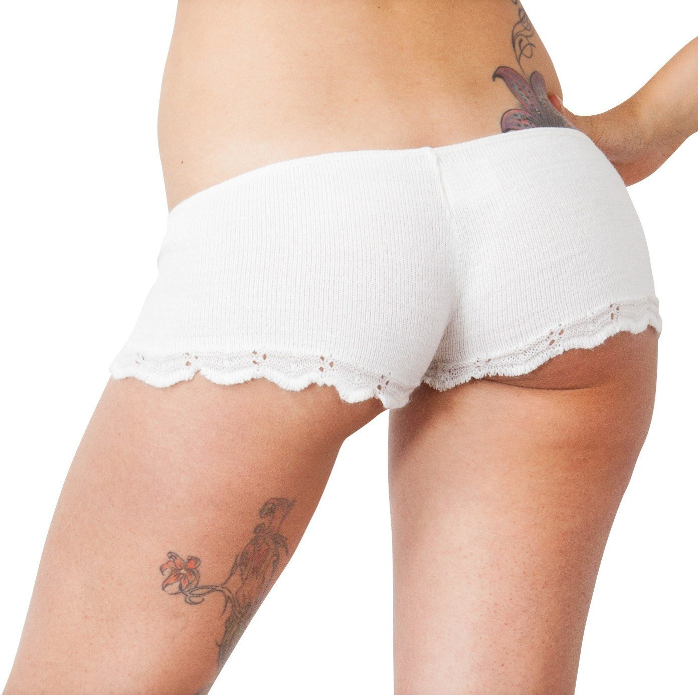 White / Small Bikini Short Shorts / Lace Trim / Stretch Knit / Cheeky Shorts @KDdanceNewYork #MadeInUSA - 1