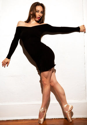 Dancewear Dress / Ballet Warm-Up Dress / Off Shoulder Sexy Sweater Dress @KDdanceNewYork #MadeInUSA - 4