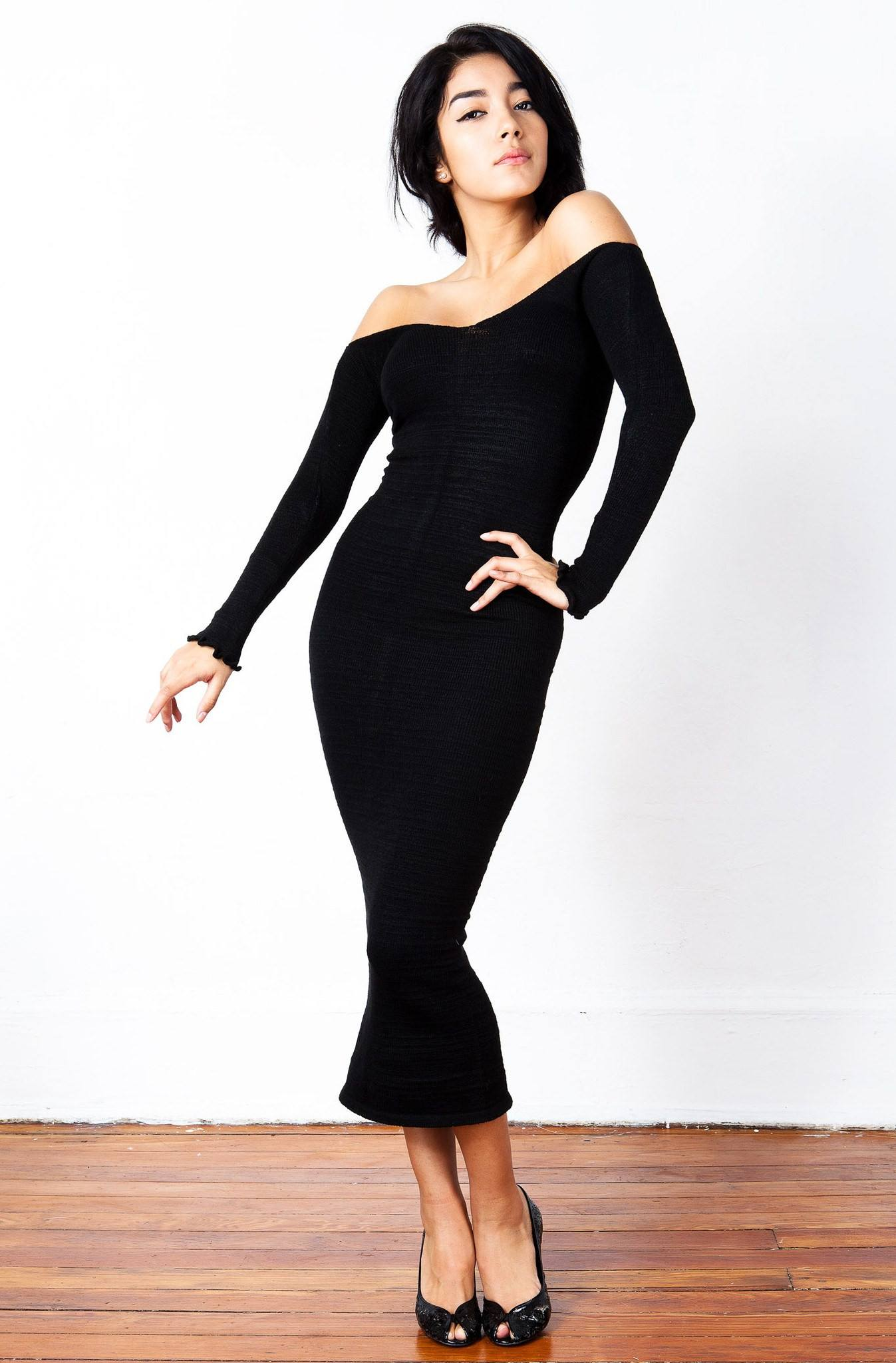 New York Black / Large Sexy, Cozy & Warm Calf Length Party Dress / Off Shoulder Dress @KDdanceNewYork #MadeInUSA - 2