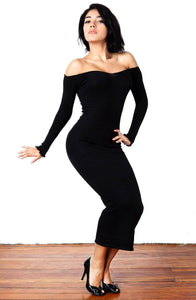 New York Black / Medium Sexy, Cozy & Warm Calf Length Party Dress / Off Shoulder Dress @KDdanceNewYork #MadeInUSA - 1