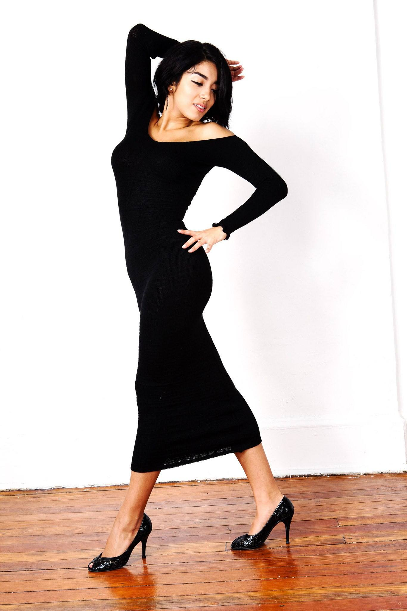 Sexy, Cozy & Warm Calf Length Party Dress / Off Shoulder Dress @KDdanceNewYork #MadeInUSA - 4