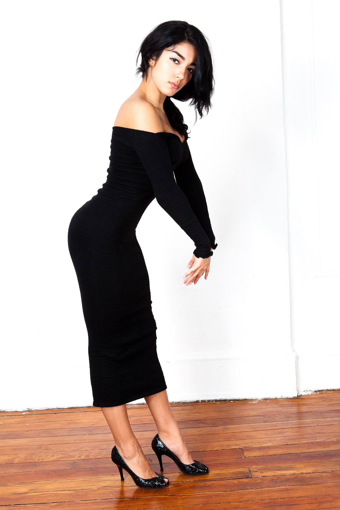Sexy, Cozy & Warm Calf Length Party Dress / Off Shoulder Dress @KDdanceNewYork #MadeInUSA - 3