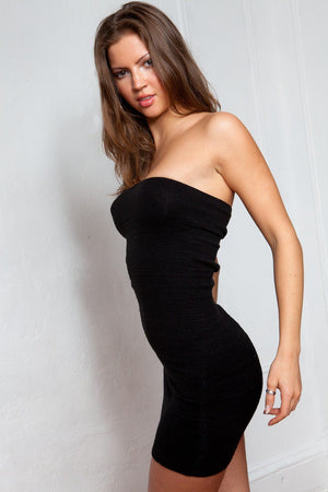 LBD Little Black Mini Tube Top Dress Stretch Knit Tube Top Sexy Mini Dress Fashion Versatile KD dance NY Made In USA @KDdanceNewYork #MadeInUSA - 4