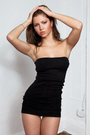 LBD Little Black Mini Tube Top Dress Stretch Knit Tube Top Sexy Mini Dress Fashion Versatile KD dance NY Made In USA @KDdanceNewYork #MadeInUSA - 2