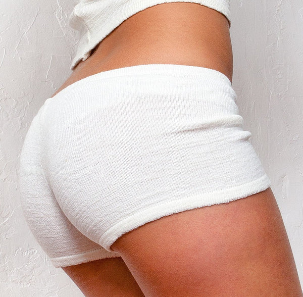 White / Medium White Yoga Shorts @KDdanceNewYork #MadeInUSA - 1