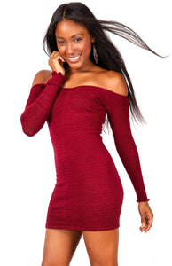 New York Black / Medium Off The Shoulder Mini Dress / Sexy Sweater Dress @KDdanceNewYork #MadeInUSA - 1