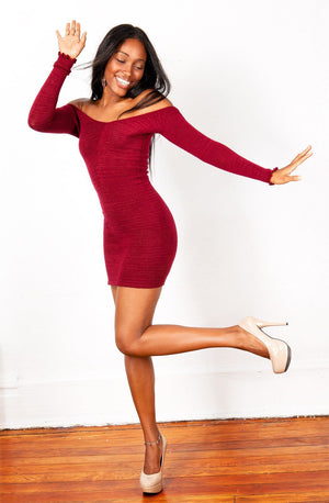 Off The Shoulder Mini Dress / Sexy Sweater Dress @KDdanceNewYork #MadeInUSA - 4