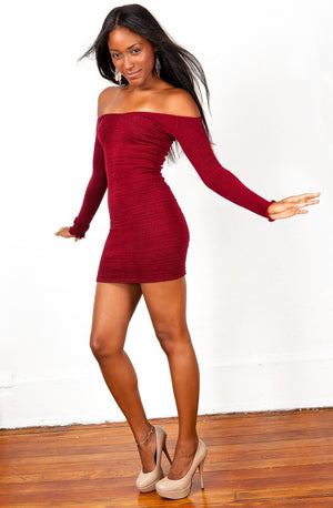 Off The Shoulder Mini Dress / Sexy Sweater Dress @KDdanceNewYork #MadeInUSA - 8