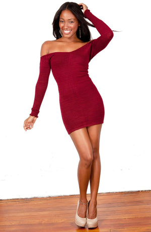 New York Black / Large Off The Shoulder Mini Dress / Sexy Sweater Dress @KDdanceNewYork #MadeInUSA - 3