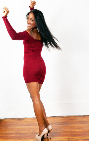 Off The Shoulder Mini Dress / Sexy Sweater Dress @KDdanceNewYork #MadeInUSA - 10