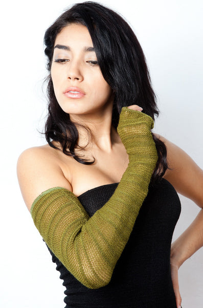 Arm Warmers: Stretch Knit Shadow Stripe Mesh ArmWarmers w/Thumb Hole by KD dance NY Made In USA @KDdanceNewYork #MadeInUSA - 2