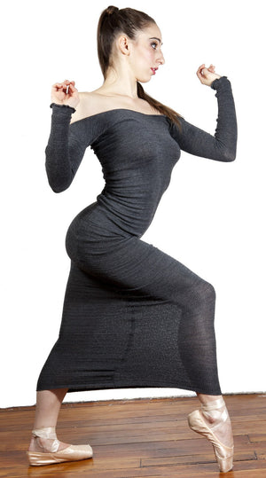 Elegant Head Turning Ankle Length Stretch Knit Sweater Dress KD dance New York Made In USA @KDdanceNewYork #MadeInUSA - 4