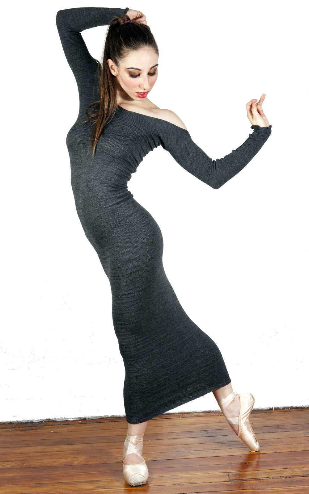Elegant Head Turning Ankle Length Stretch Knit Sweater Dress KD dance New York Made In USA @KDdanceNewYork #MadeInUSA - 3