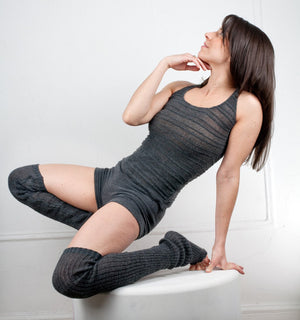 Thigh High Leg Warmers, Racer Back Tank Top, Low Rise Shorts 3 Piece Dancewear Set @KDdanceNewYork #MadeInUSA - 5