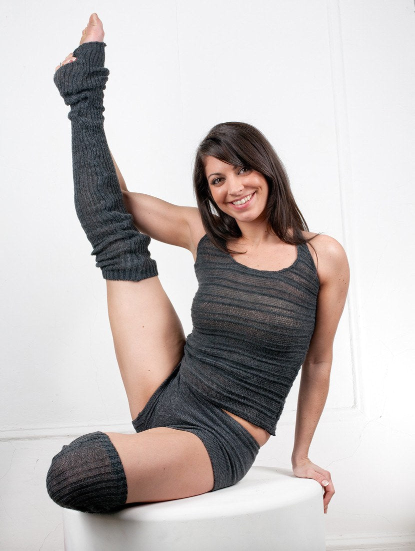 Thigh High Leg Warmers, Racer Back Tank Top, Low Rise Shorts 3 Piece Dancewear Set @KDdanceNewYork #MadeInUSA - 6