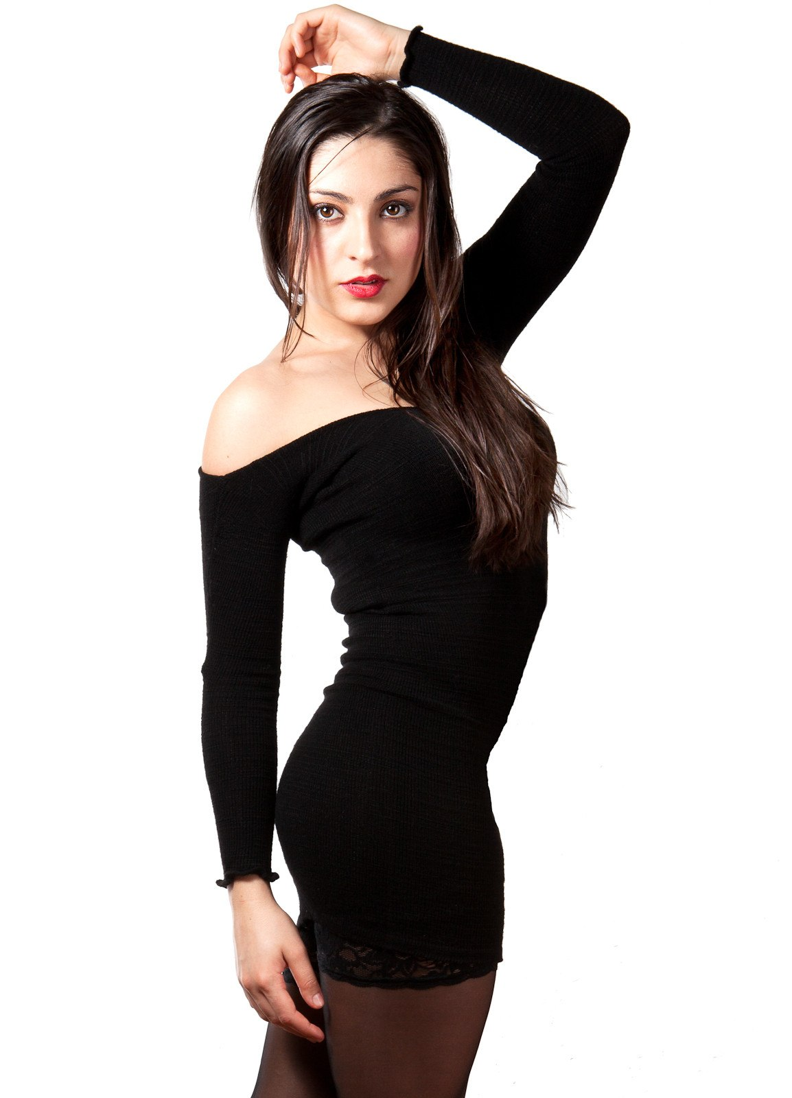 Sexy Little Black Stretch Knit Dress & 28 Inch Thigh High Leg Warmers KD dance Made In USA @KDdanceNewYork #MadeInUSA - 3