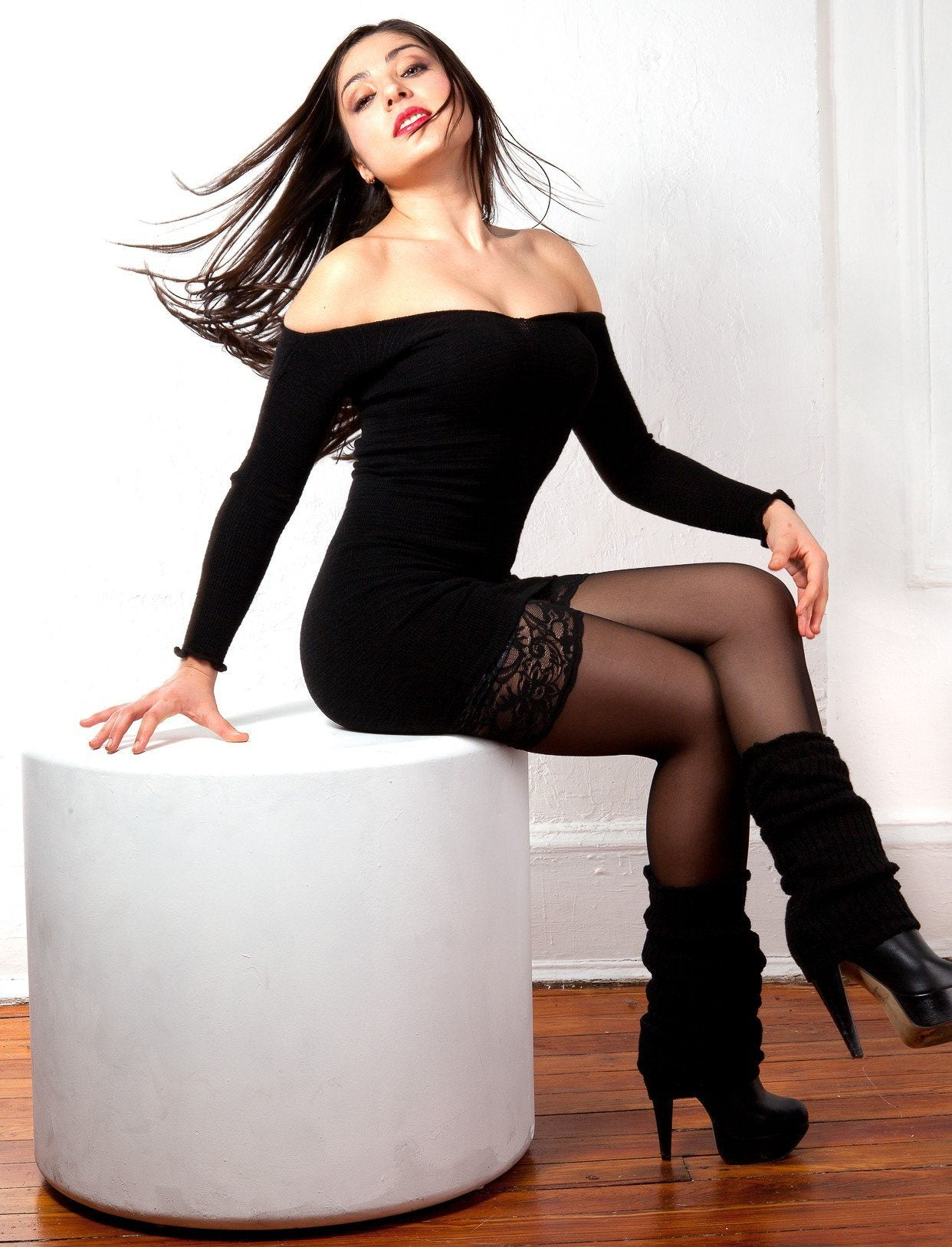 New York Black / Large Goth Mini Dress & Knee High Leg Warmers @KDdanceNewYork #MadeInUSA - 1