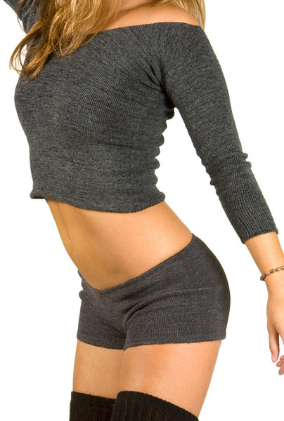 Charcoal / Medium Dance & Yoga Low Rise Boy Shorts Stretch Knit by KD dance Made In USA @KDdanceNewYork #MadeInUSA - 1