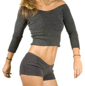 Boat Neck Yoga Top & Matching Low Rise Yoga Booty Shorts KD dance New York Sexy Sweater Set @KDdanceNewYork #MadeInUSA - 4