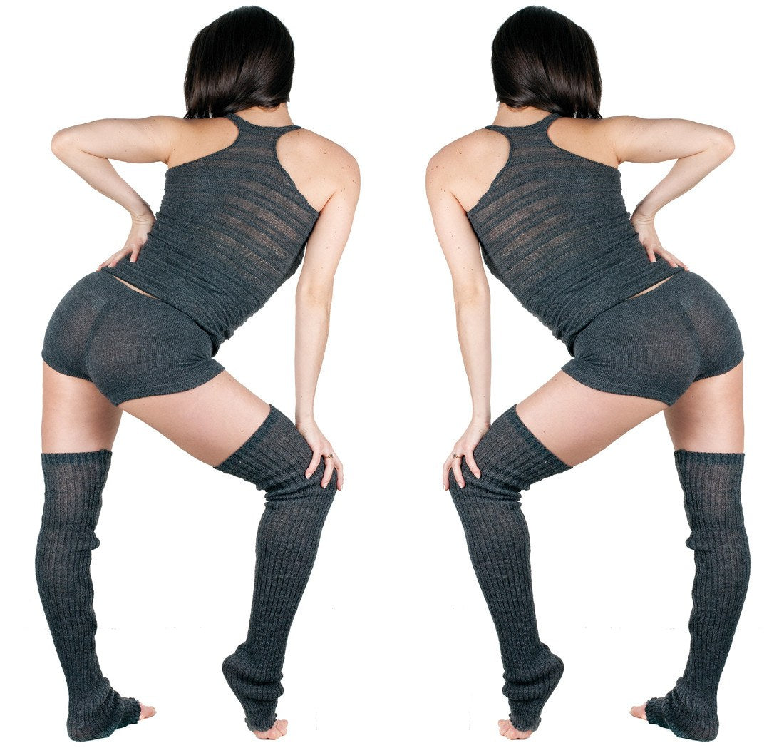Light Gray / Large Thigh High Leg Warmers, Racer Back Tank Top, Low Rise Shorts 3 Piece Dancewear Set @KDdanceNewYork #MadeInUSA - 1