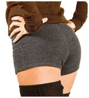 Thigh High Shadow Stripe Leg Warmers with Matching Off Shoulder Stretch Knit Top & Low Rise Stretch Knit Shorts Made In USA