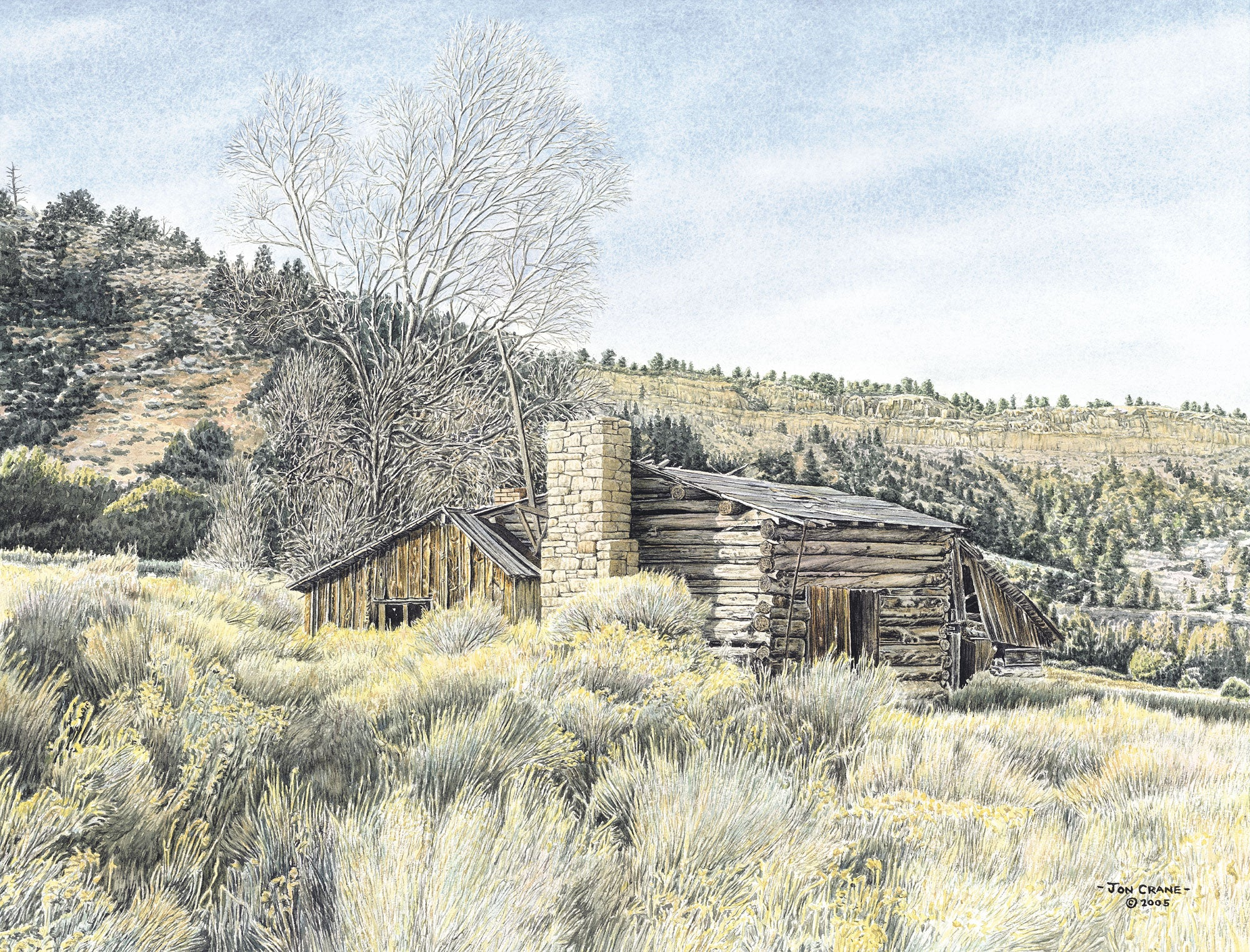 AT REST BENEATH THE RIMROCK by Jon Crane -- Fine Art Watercolors