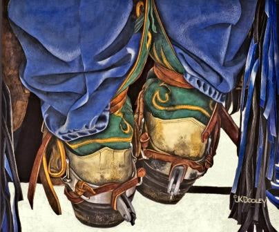 BOOT SCOOT by JK Dooley--Exceptional Cowboy Art/Watercolor/Original