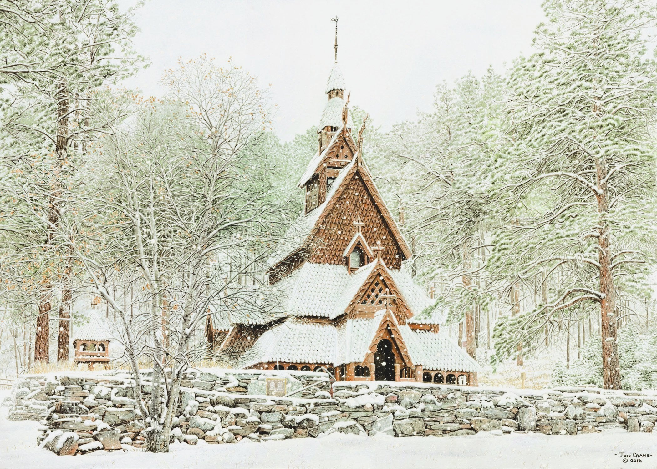 CHAPEL IN THE HILLS             by Jon Crane -- Fine Art Watercolors