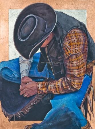 COUNTN' MY BLESSINGS by JK Dooley---Cowboy Art/Watercolor/Original