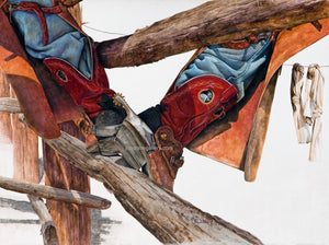 KICKIN' BACK by JK Dooley---Cowboy Art/Watercolor/Original