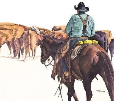 MOVE 'EM OUT by JK Dooley---Cowboy Art/Watercolor/Original