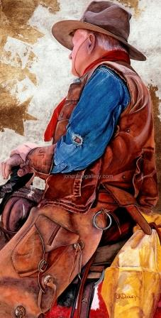TALL IN A SADDLE by JK Dooley---Cowboy Art/Watercolor/Original