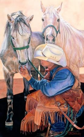 WHERE'S MINE?  by JK Dooley---Cowboy Art/Watercolor/Original