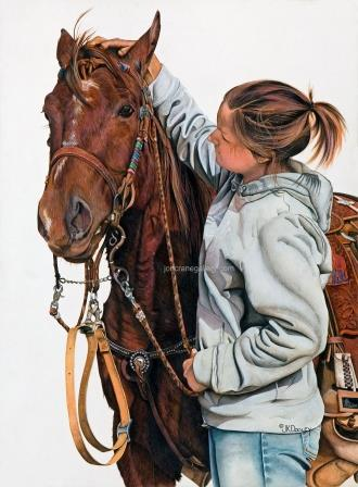 WILD HEART, LOVING SOUL  by JK Dooley---Cowboy Art/Watercolor/Original