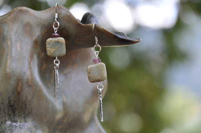 Aqua Terra Jasper and Purple Tourmaline Feather Charm Earrings