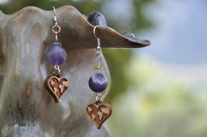 Violet Apatite and Maple Earth Charm Earrings