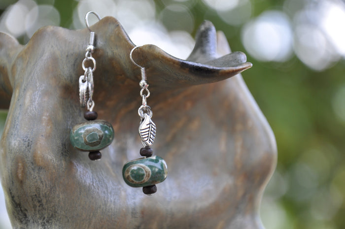 Green Etched Tibetan Agate Charm Earrings