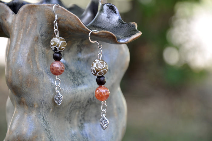 Etched Jade and Carnelian Leaf Charm Earrings