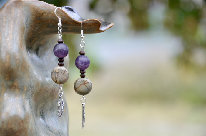 Red Creek Jasper and Purple Apatite Feather Charm Earrings