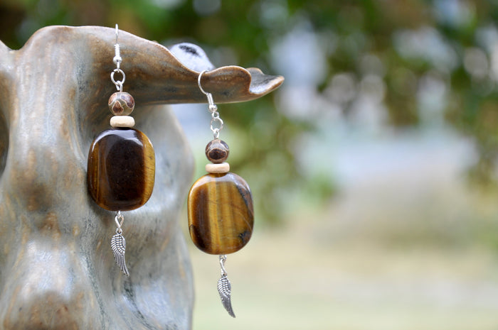 Tiger's Eye and Etched Tibetan Agate Wing Charm Earrings