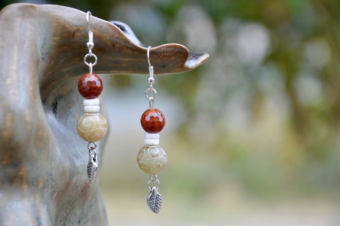 Fire Carnelian and Etched White Jade Earrings