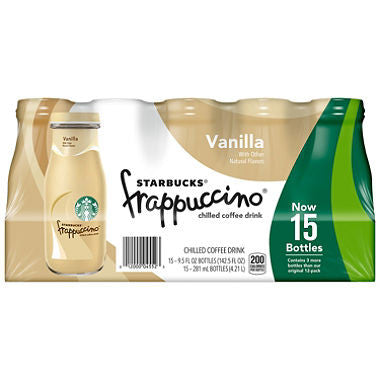 Starbucks Frappuccino Coffee Drink, Vanilla (9.5 oz. bottles, 15 pk.)