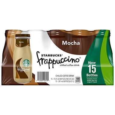Starbucks Frappuccino Coffe Drink, Mocha (9.5 oz. bottles, 15 pk.)