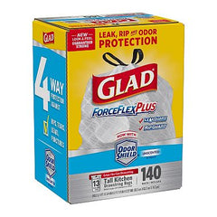 Glad ForceFlex Tall Kitchen Drawstring Trash Bags (13gal,140 Ct.)