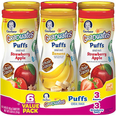 Gerber Graduates Puffs Cereal Snack, Variety Pack (1.48 oz., 6 pk.)
