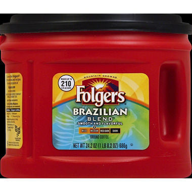 Folgers Brazilian Blend Medium Roast Ground Coffee (24.2 oz. canister